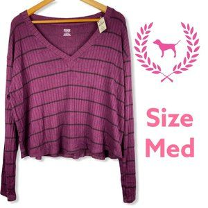 VS Pink Red Black Striped Sweater Relaxed Fit Med